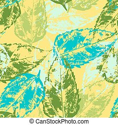 Grunge pattern with leaves on yellow background
