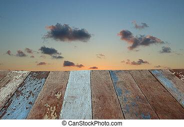 grunge, pavimento legno, con, alba, cielo, fondo
