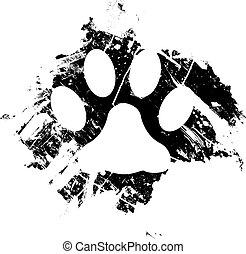 Grunge paw print sketch - Grunge pet or cat paw print. Can...