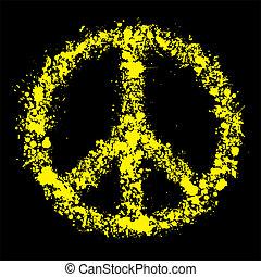 Grunge peace symbol - pacific, vector illustration