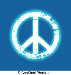 Grunge peace symbol with a blue neon glow, vintage design