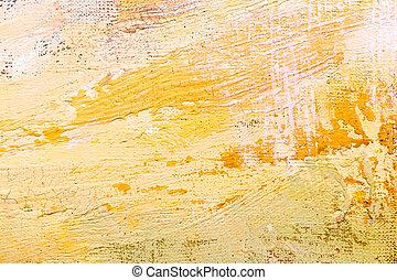 grunge, peint, résumé, jaune, main, coups, fond, expressif