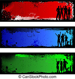Silhouettes of people on grunge backgrounds