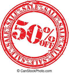 grunge, percento, 50, vendita, gomma, s, spento