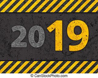 grunge, pericolo, testo, giallo, nero, modello, 2019