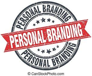 grunge, persönlich, brandmarken, briefmarke, rotes , ...