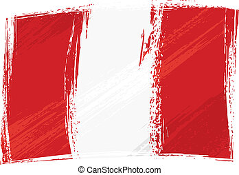 Peru national flag created in grunge style