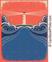 grunge, phare, arrière-plan bleu, vecteur, conception, waves...