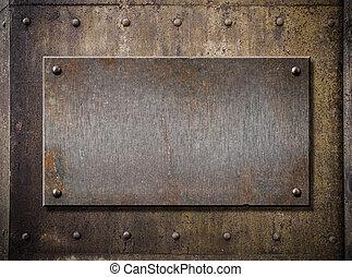 grunge, piastra metallo, sopra, arrugginito, fondo