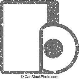 grunge, pictogram, -, audio, bestand