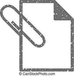 grunge, pictogram, -, bijlage, bestand