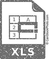grunge, pictogram, -, spreadsheet, bestand