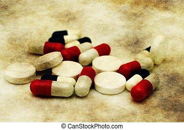 Grunge pills concept