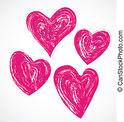 Grunge pink hearts logo icon - Vector of grunge pink hearts...