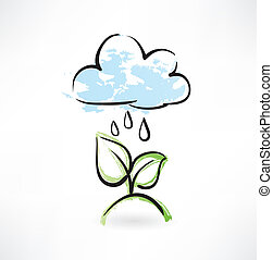 grunge, pioggia, mette foglie, icona