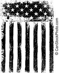 grunge, pionowy, orientation., fotokopia, amerykanka, tło., bandera, wektor, gwiazdy, stripes., monochromia, sędziwy, template.