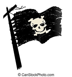 Grunge pirate flag - Sketch with pirate flag over white...