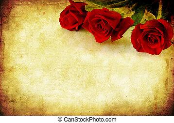 grunge, piros rózsa