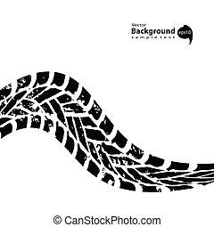 grunge, pista pneumatico, sfondo nero, bianco