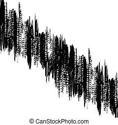 grunge, piste, silhouette, diagonale, pneumatico
