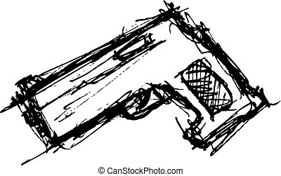grunge pistol in doodle style