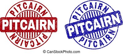 Grunge PITCAIRN Scratched Round Stamps