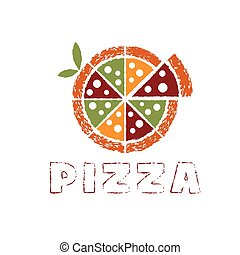 grunge pizza with leaves vector design template