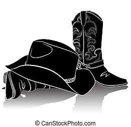 grunge, plano de fondo, botas, vector, vaquero, diseño, hat.