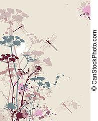 grunge, plano de fondo, con, flores, y, libélula