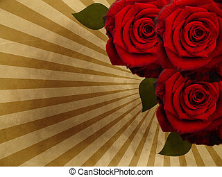 grunge, plano de fondo, con, rosas