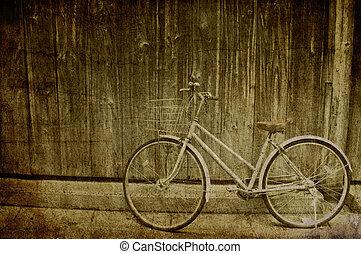 grunge, plano de fondo, de, vendimia, bicicleta, con, pared de madera