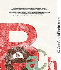 grunge, playa., poster., retro, tipográfico