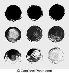 grunge, pletten, set., tekstur, element, maling, vektor, børste, cirkel, bejdse