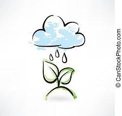 grunge, pluie, pousse feuilles, icône