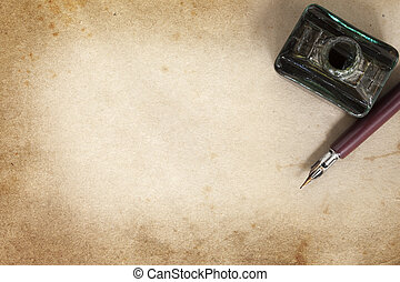 grunge, plume, vendange, sur, encrier, stylo, papier