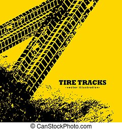 grunge, pneu, amarela, trilhas, fundo, marcas