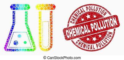 grunge, pointillé, watermark, chimique, clair, vecteur, verrerie, icône, pollution