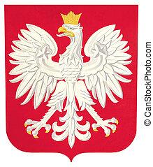 Grunge Poland coat of arms illustration, isolated on white...