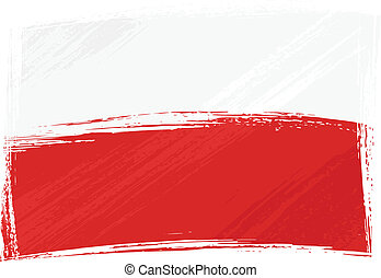 Poland national flag created in grunge style