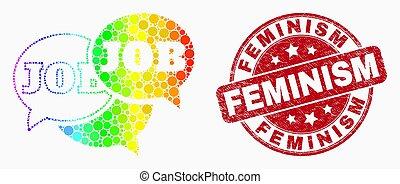 grunge, pontilhado, fórum, mensagens, trabalho, luminoso, vetorial, selo, feminismo, ícone