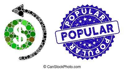 grunge, populaire, icône, cashback, timbre, mosaïque