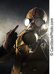 grunge portrait man in gas mask, fuck sign