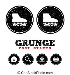Roller skates sign icon. Rollerblades symbol. - Grunge post...