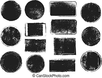 Grunge post stamps. Round and rectangular badges with distressed texture. Scratched blank rubber seal stamp vector isolated set