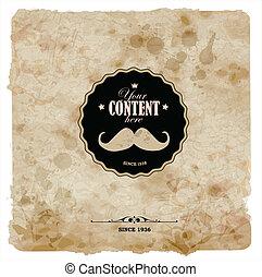 grunge, postcard., vindima, paper., etiqueta, bigode