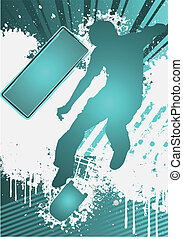 Grunge Poster Template with skateboarder silhouette