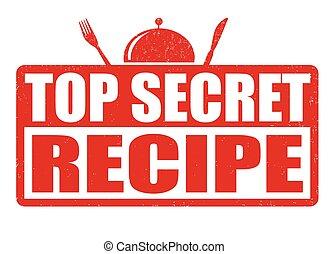 grunge, postzegel, bovenzijde, recept, rubber, geheim