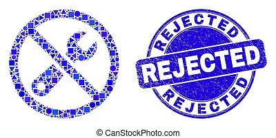 grunge, postzegel, herstelling, blauwe , verworpen, verboden...