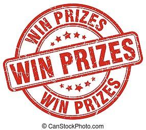 grunge, postzegel, ouderwetse , rubber, prijzen, winnen, ronde, rood