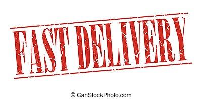 grunge, postzegel, ouderwetse , vrijstaand, snelle levering, achtergrond, wit rood